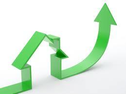 house logo with ascending arrow
